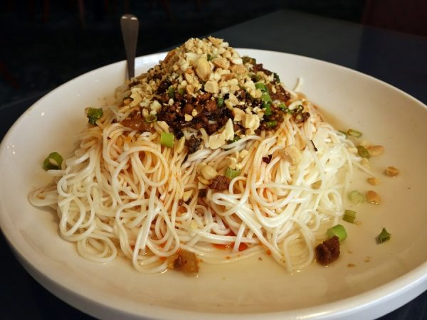 Along with ma po tofu, dan dan mien is one of my favorite Chinese dishes. I never know whether the order will be dry or soupy. (I can be happy with either.) Good flavors here, though I prefer a slightly bigger (thicker or wider) noodle.