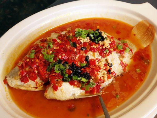 "This ""Szechuan style whole fish"" looks spicier than it is."