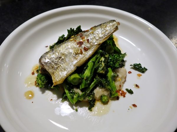 Good Bar's sardine with corona bean puree, anchovy, broccoli raab, and sherry vinegar