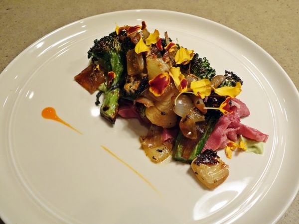 "RGE RD does a daily ""Questionable Bits"" dish (showcasing whole animal cooking), and today it was beef tongue pastrami with wood-roasted broccoli and charred onion (a play on Chinese beef with broccoli)"