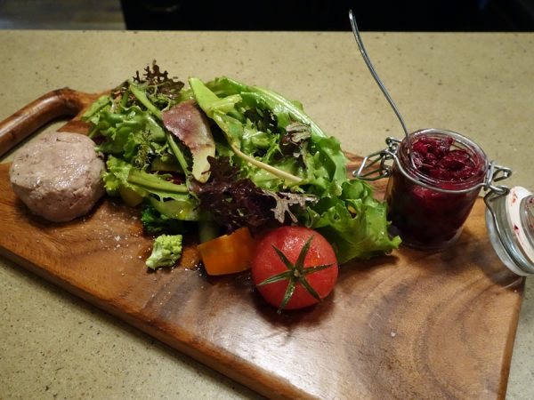 """The Edible Farm"" at RGE RD: summer greens, edible flowers, fresh vegetables, beet antipasto, and a terrine (today was duck rillette)"