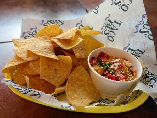 Chips with butternut squash salsa