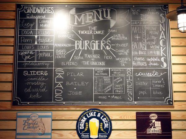 The menu at Tucker Duke's