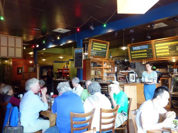 The scene inside Vios Cafe