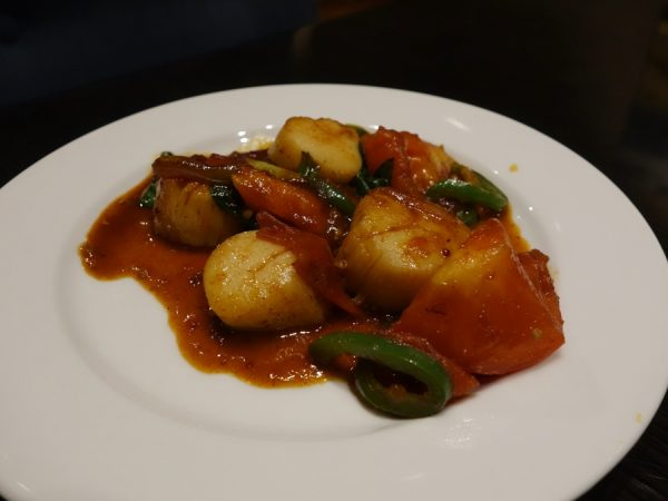 Hoisin diver scallops with chili jam, tomato, basil, and jalapeno