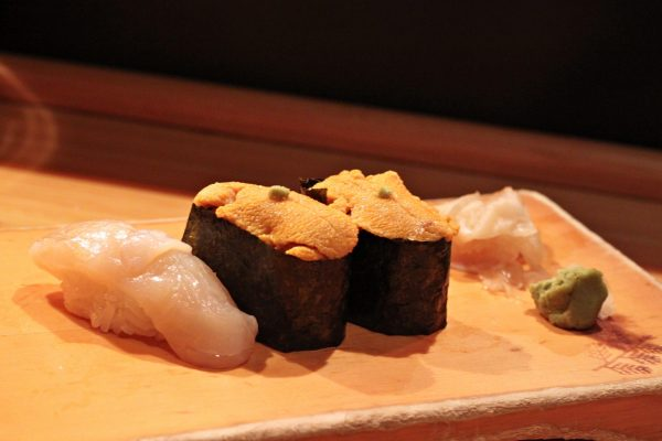 Scallop and sea urchin as part of a sushi meal at Kisaku