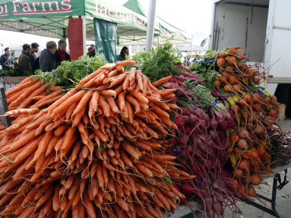 Colorful carrots and beets at the Ferry Plaza Farmers Market