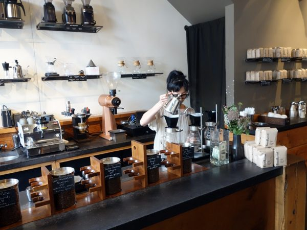 Pour-over station at Fourbarrel Coffee