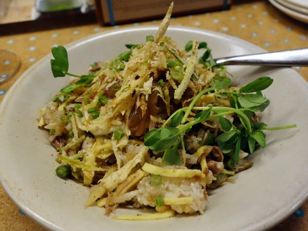 State Bird: maitake and duck fried rice a la plancha (with caramelized onions, long beans, pea vines, and crispy fried onions)