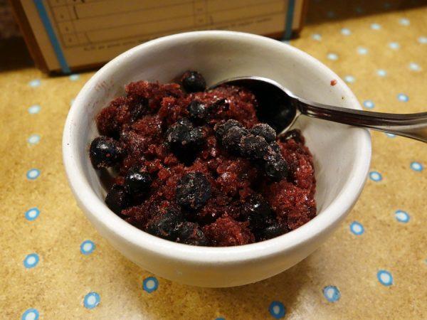 State Bird: cocoa nib-huckleberry granita with yogurt coconut cream and blood orange