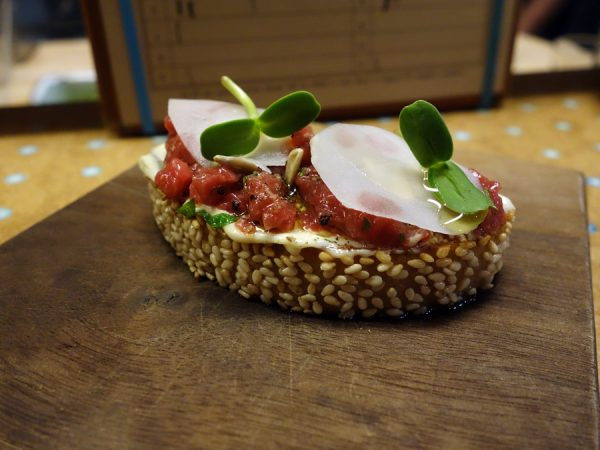 State Bird: steak tartare sunchoke toast