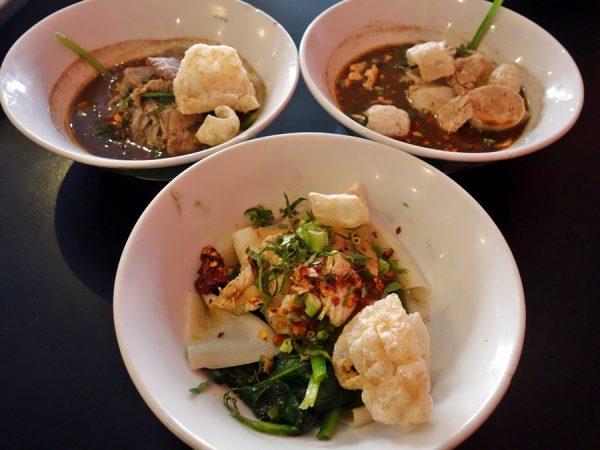 Trio of noodle bowls (boat noodles at the top) at Zen Yai