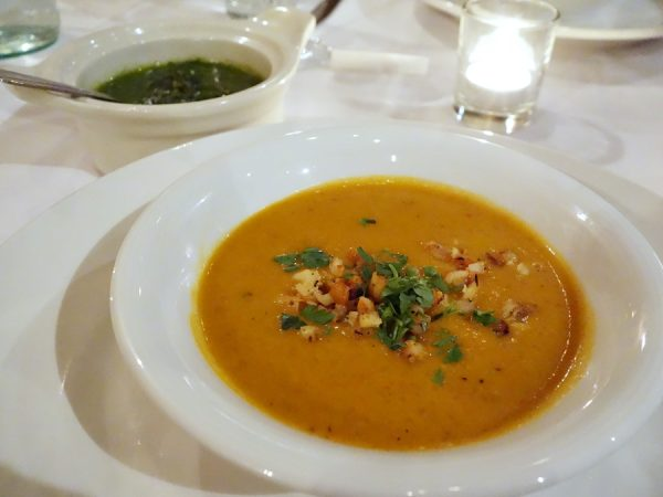 White shrimp bisque with chili oil-poached shrimp, served with basil pistou (and bread)