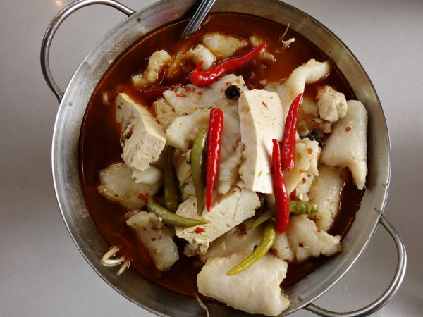 Tender Fish Morsels in Fiery Broth of Two Kinds of Chili Peppers (I enjoy all of these fiery fish dishes)