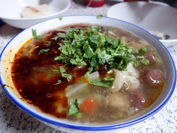 Ma la soup, after cilantro and chili oil added