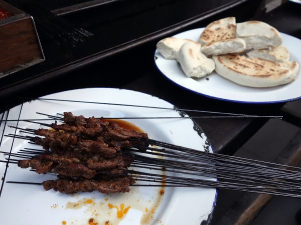 Finished beef skewers eaten with bread (the small pieces of beef are tastier than the large ones found in the tourist area)