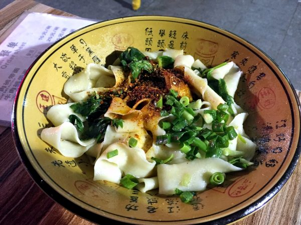 My bowl of hot oil-seared biang-biang noodles