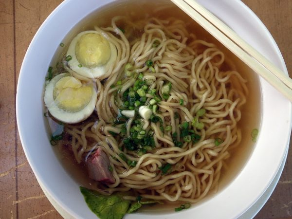 Saimin at Aloha Mixed Plate. I was excited to have Asian noodles for breakfast, but this was somewhat bland.