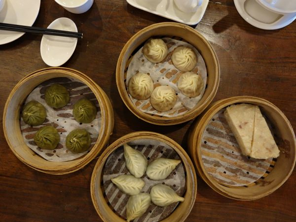 A bunch of baskets at Dian Shui Lou, including xiao long bao at the top