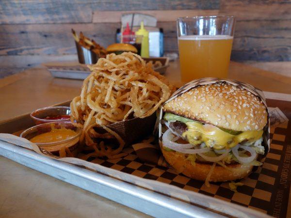 Buckaroo burger with haystack onions