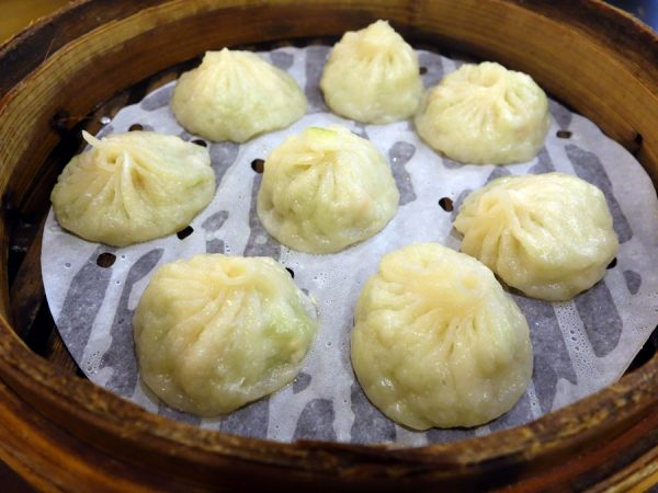 Dumplings with luffa squash at Hang Zhou