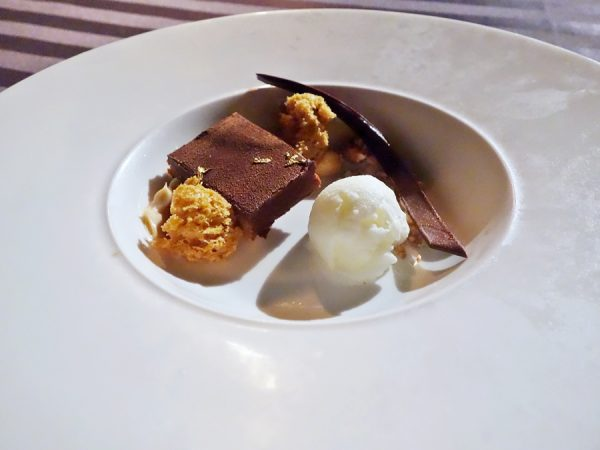 "Dessert at Humuhumunukunukuapua'a was this Chocolate Peanut 'Auka Kula (Gold Bar):  ""peanut butter crispy and milk chocolate custard, candied nuts, crème fraiche sorbet and a touch of gold leaf"
