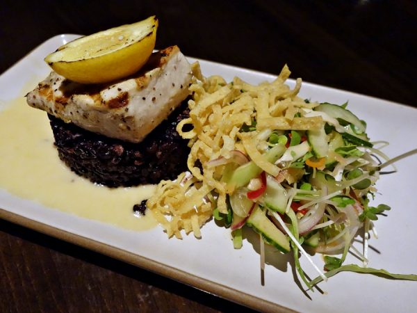 I like the ability to order a number of half-portions at Japengo. Less commitment, more variety. Here: a half portion of grilled local mahi mahi with young coconut salad, lemongrass beurre blanc, and forbidden rice.
