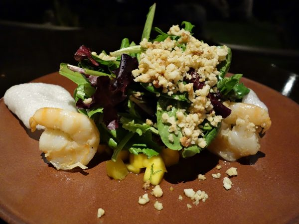 Japengo's prawn and mango salad with Kula baby greens, palm sugar vinaigrette mint, and macadamia nuts (sweet but tasty)
