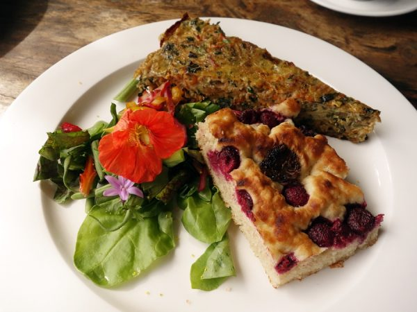 Breakfast at O'o Farm: quiche, salad, and a scone