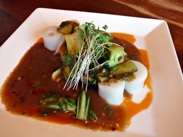 "An interesting dish for this noodle lover: Star Noodle's ""look moore funn"" with rolled noodles (made with cake flour and tapioca starch), black bean clam sauce, choi sum, and chili oil. I enjoyed the bold flavors."