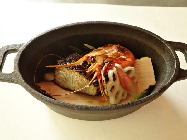 Cedar-smoked black cod, spot prawn, pickled lotus root, miyoga, sea bean, and burnt rosemary