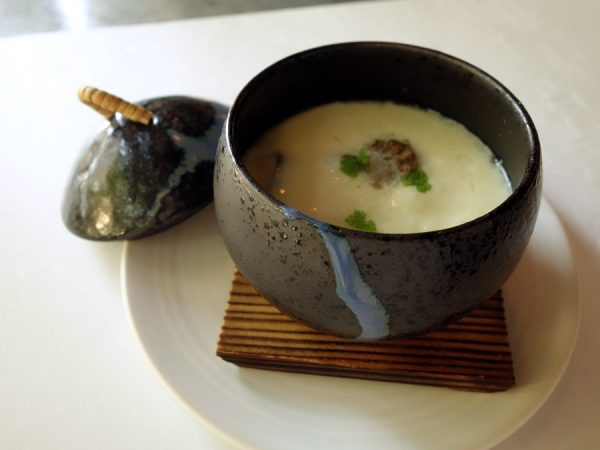 Chawanmushi with black cod, morels, and dungeness crab