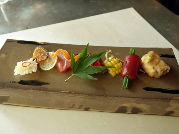 Seasonal bites: pickled turnip, kabocha, key lime, seared bluefin belly with kombu salt, braised morel, corn, chives wrapped in soy-marinated bluefin tuna, pickled madai (sea bream)