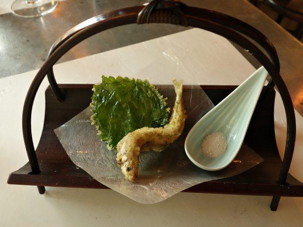 Smelt dill tempura with shiso leaf and kombu salt