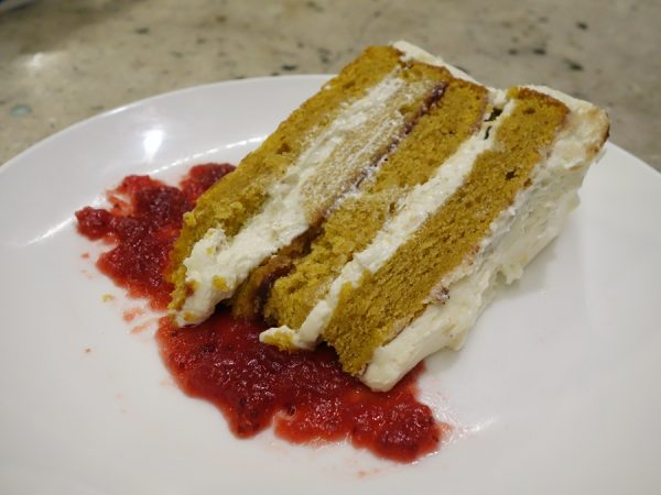 Pumpkin cake with brown butter-cream cheese frosting and house-made cranberry jam. And then they gave me one of their famous pot de crème to take back to the hotel in case I got hungry!