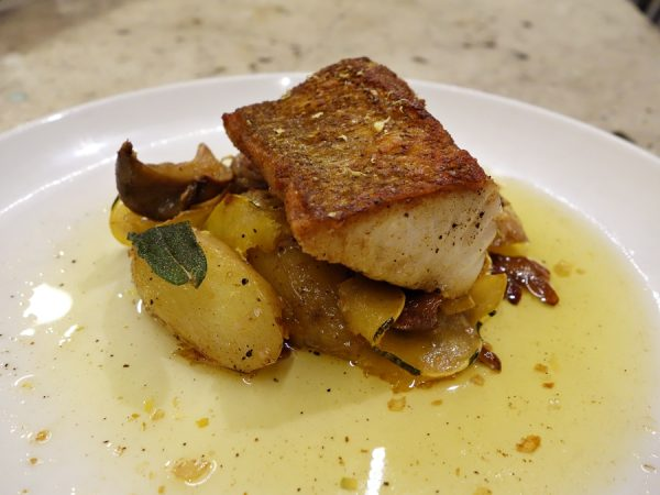 """A """"small"""" portion of pan-seared walleye with butternut squash, oyster mushrooms, fingerling potatoes, and fried sage in brown butter sauce. I suggested that fish might be a light dish, but the chefs laughed and said everything they make is fairly heavy (but delicious)."""