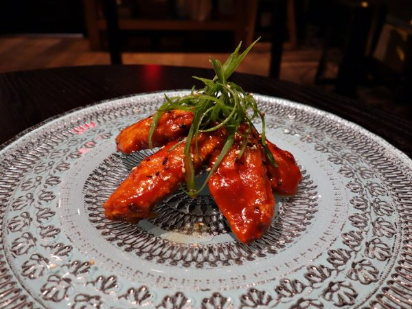 Maple Hill chicken wings with gochujang, salt, and Sichuan peppercorn. These were a little on the sweet side.