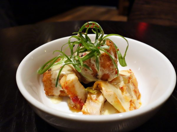 My favorite dish of the night: crispy tofu (dubu kimchi) with pork belly, sauteed kimchi, and citrus aioli. Great flavors!