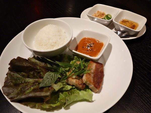 A fun finish to the meal: pork belly lettuce wraps with Thai basil, ssamjang, chili, fried garlic, and scallion oil.
