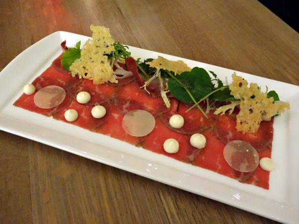 Beef carpaccio: Snake River Farm wagyu, smoked mayo, young lettuce, parmesan crackling (playful, with good flavors)