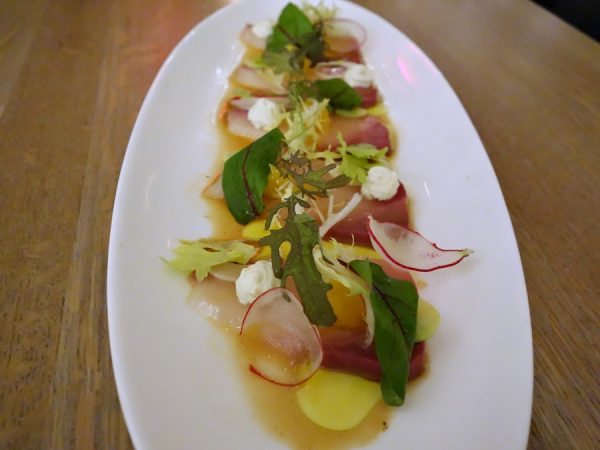 Hamachi: citrus-cured, hearts of palm, avocado, crème fraîche