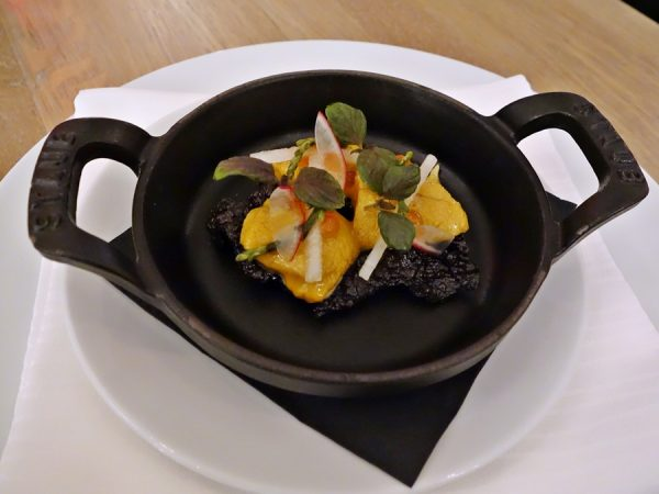 Uni on rice: local sea urchin, celery root, shiso, ikura, black rice puff (fun start!)