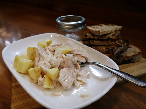 Tuna conserva with lemon-pickled potatoes and sourdough.