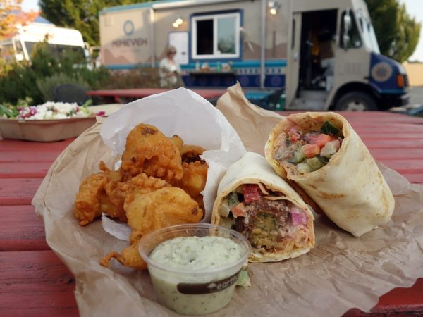 Falafel, fried cauliflower, and the Nineveh Assyrian food truck in the background
