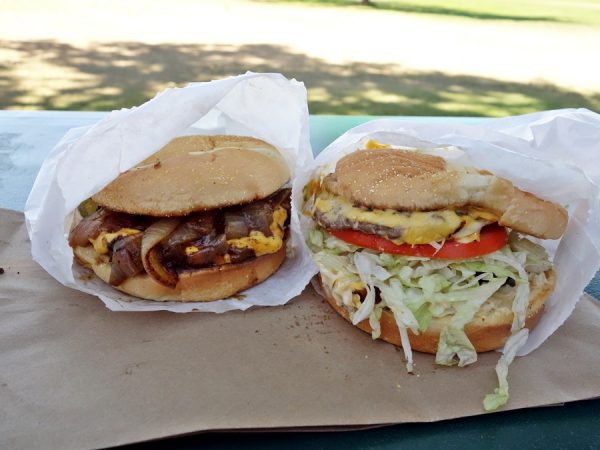 Fair burger on the left and cheeseburger on the right at Van's