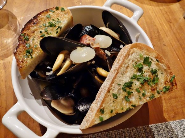 Steamed Viking Bay mussels with white wine, Tyroler bacon, cipollini onions (you'll want to slurp the broth)