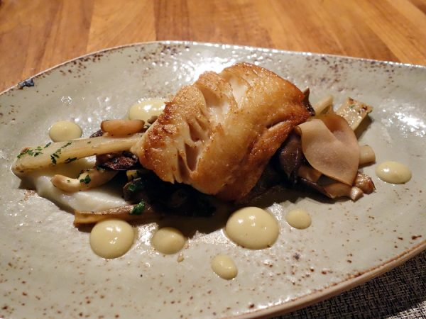 Sablefish with oyster mushrooms, salsify, pickled pear, pine vinaigrette (beautifully prepared fish)