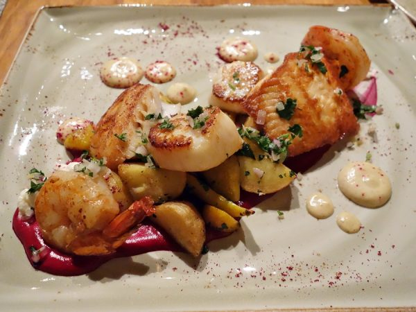"Seafood mixed grill ""roasted"" with beetroot, roast potatoes, smoked ricotta, cumin vinaigrette"