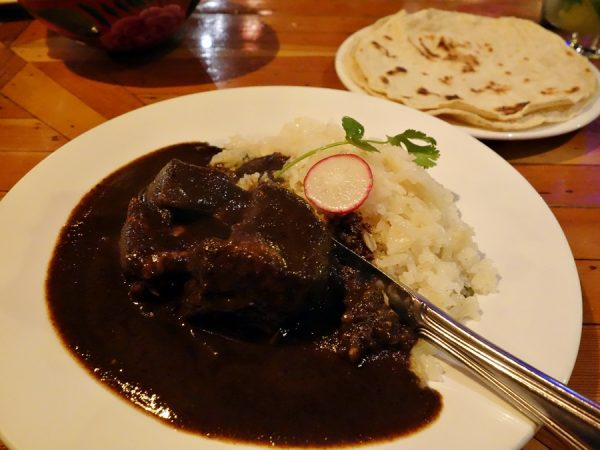 The dark, rich mole at La Cocina is available with chicken or pork in the mole negro Oaxaqueño. Both good.