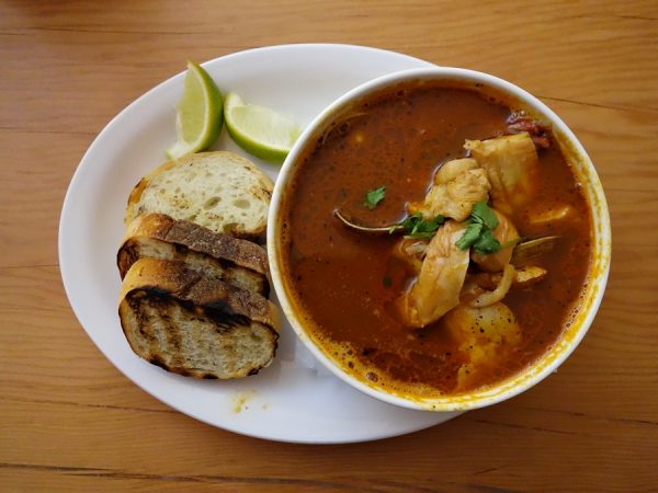 El Sirenito's sopa de mariscos: shrimp-based broth with rockfish, octopus, clams, prawns. Nice flavor!